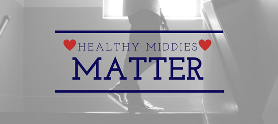 "Image: Student in stairwell, text ""Healthy Middies Matter"""