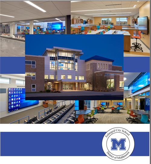 High school front exterior and new tech collaborative spaces