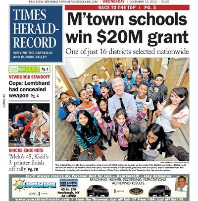 Times Herald-Record: M'town schools win $20M grant